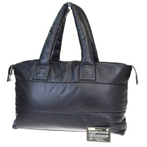Auth CHANEL CC Coco Reversible Hand Tote Bag Black